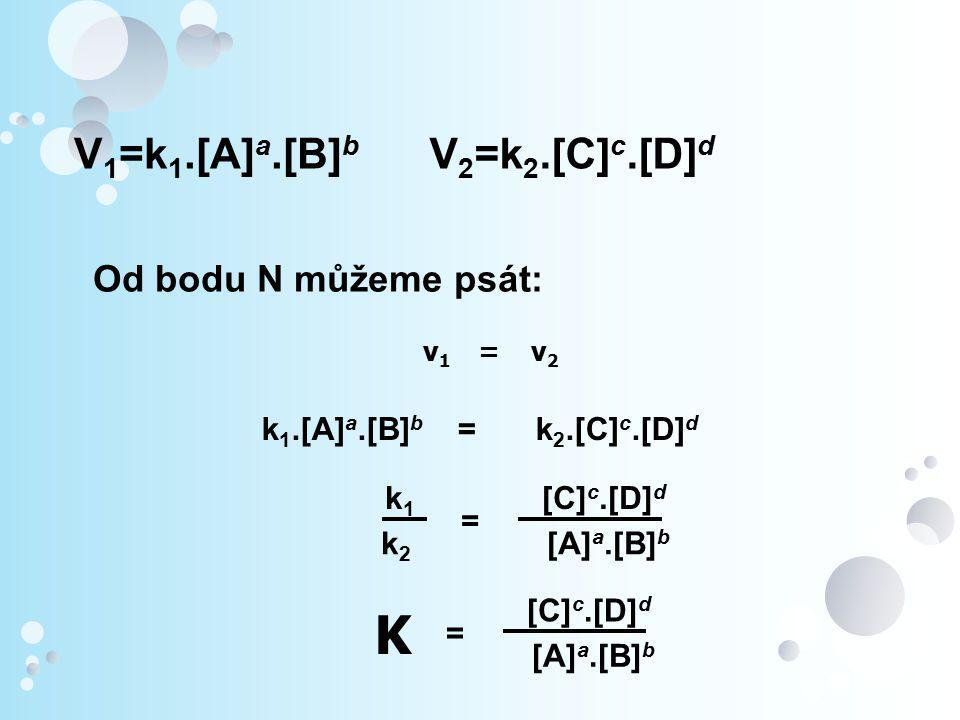 K [A]a.[B]b V1=k1.[A]a.[B]b V2=k2.[C]c.[D]d Od bodu N můžeme psát: